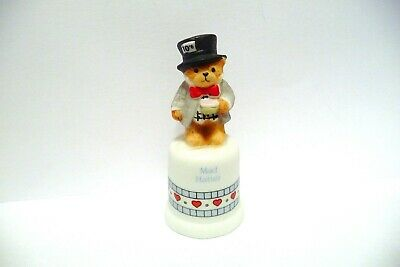 "Thimble Bisque Enesco Lucy Rigg '87 Topper Of ""Mad Hatter"" Bear"