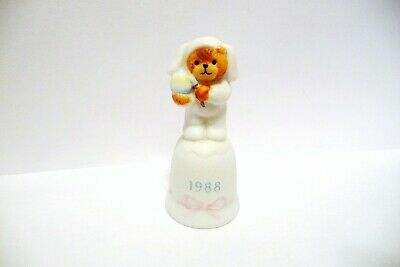 "Thimble Bisque Enesco Lucy Rigg '87 Topper Of Easter Bunny Bear W/Egg ""1988"""
