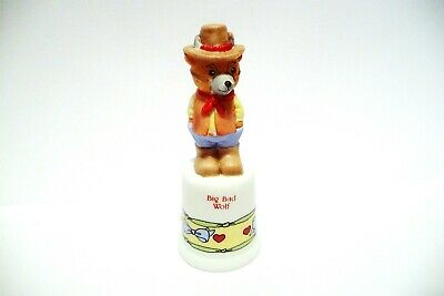 "Thimble Bisque Enesco Lucy Rigg '88 Topper Of The ""Big Bad Wolf""  Bear"
