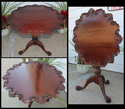 Antique Ribbon Mahogany Tilt Top Pie Crust Bird Cage Rotate Tea Table Claw Feet