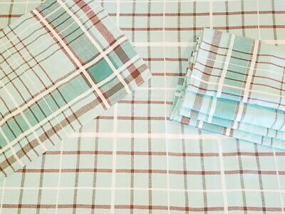 Vintage Plaid Napkin & Tablecloth Set of 6 | Turquoise Blue/Brown/White Plaid