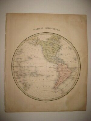 ANTIQUE 1835 WESTERN HEMISPHERE WORLD MAP UNITED STATES shown IN CANADA HAWAII