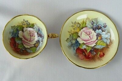Aynsley Signed J.A Bailey China Tea Cup & Saucer Cabbage Rose & Flowers MINT!