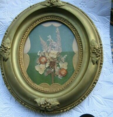 Antique Ornate Oval Gold Gilt Raised Grapes Real Flowers Picture Frame W/ Glass