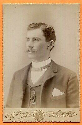 Chicago, IL, Portrait of a Young Man, by Lonergan, circa 1890s Backstamp