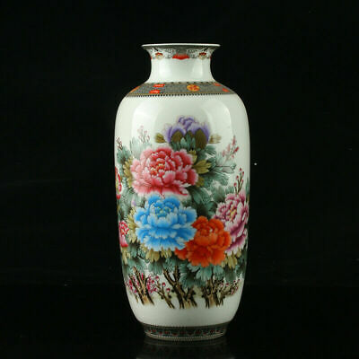 Chinese Exquisite Porcelain Hand-Painted Flower Vase Mark As The Qianlong Period