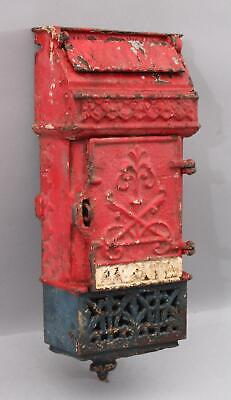 19thC Antique Red, White & Blue Painted  Cast Iron Mailbox, S.C. Tatum & CO.