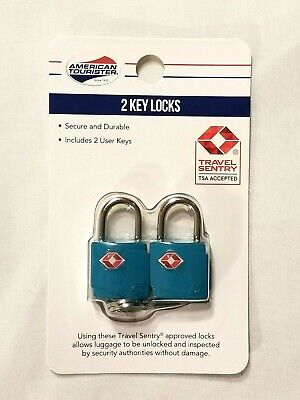 Blue American Tourister Luggage Locks With 2 Keys Travel Sentry TSA Accepted