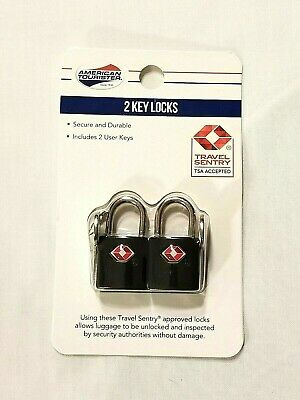 Black American Tourister Luggage Locks With 2 Keys Travel Sentry TSA Accepted