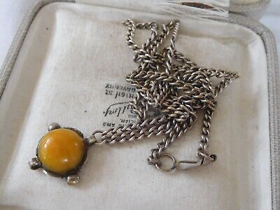 Gorgeous Old Art Deco Genuine Amber Cabochon Necklace