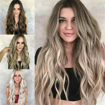 Women Long Hair Full Wig Natural Curly Wavy Ombre Blonde Synthetic Hair Wigs