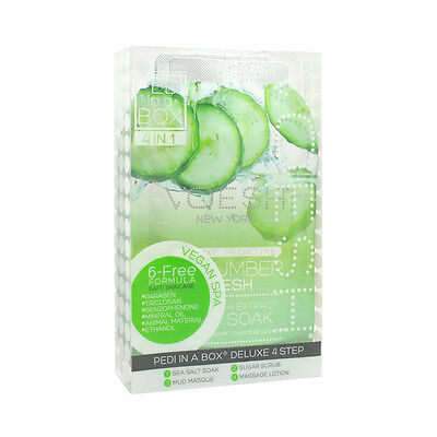 24 X Voesh Pédicure Spa Set 4-in-1 Concombre Sel Gommage Masque Massage Lotion
