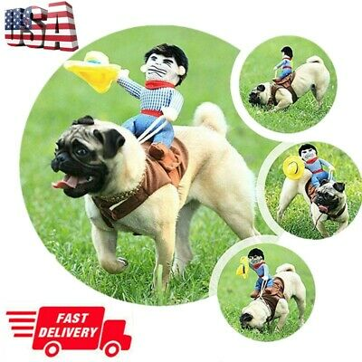 Funny Riding Horse Cowboy Pet Dog Cat Costumes Halloween Party Clothes USA STOCK