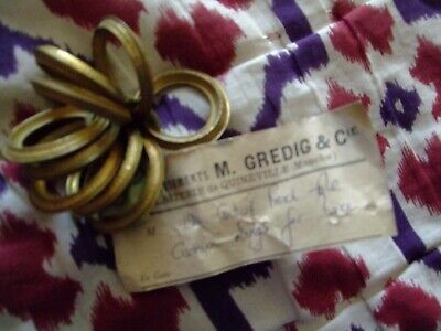 New  Old Stock  Antique French  (Original  Label) X9  Gilt brass Curtain Rings