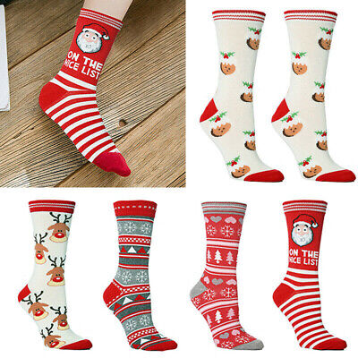 Christmas Socks Women Mens Gift Santa 100% Cotton Warm Winter Xmas Socks