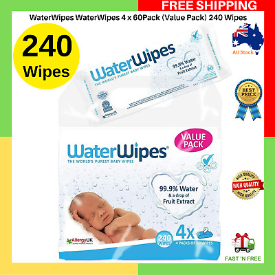 WaterWipes WaterWipes Water Baby Wipes For Sensitive Skin 240 Wipes NEW AU