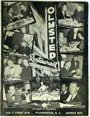 1952 OLMSTED RESTAURANT Original Menu Washington DC Celebrity Photo Cover