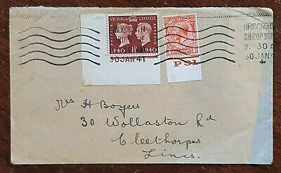 1941 KGVI SG481 1½d Corner Stamp and 1d With KGV 1d with Block Cypher on Cover