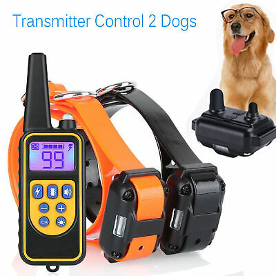 2 Dogs Shock Collar & Remote Waterproof Electric For Large 880 Yard Pet Training