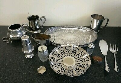 JOB LOT Antique Vintage Silver Plate, Tableware, Trays, sugar dredger, cutlery