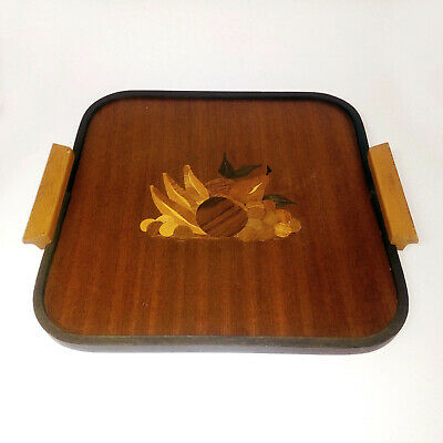 Vintage Intarsia Wood Tray with Handles