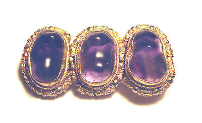 ANTIQUE Export CHINESE Vermeil 800 SILVER  Filigree 3 AMETHYST Cabochon PIN