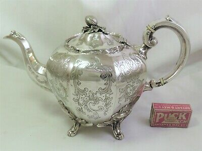Large Ornate Victorian Silver Plated Tea Pot - Martin Hall & Co 1870'S