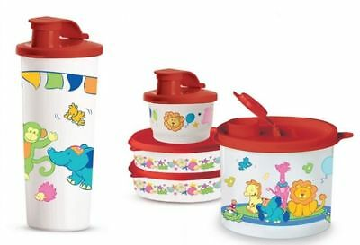 New TUPPERWARE Kids Toddler Feeding Red Animals Tumbler  Fliptop Snack Cup Bowls
