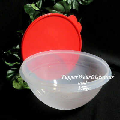 Tupperware New Sheer Wonderlier Mixing Bowl  ~ 10 cup ~~Clear Red Seal