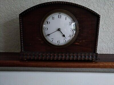 Clock vintage mantle French movement in simple wood case