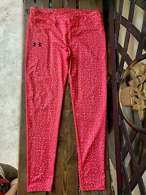 Under Armour Pink With White Speckles Heat Gear Pants/Bottoms Girls/Kids Sz YXL