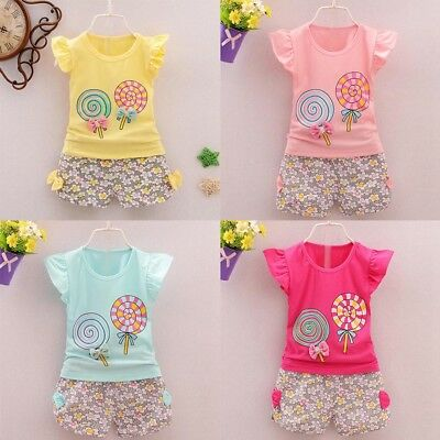 2PCS Toddler Kids Baby Girls Summer Outfits shirt Tops+Short Pants Clothes AU
