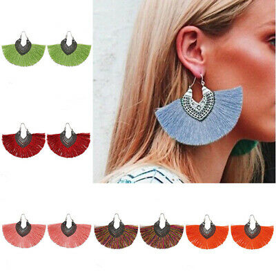 Bohemian Large Jewelry Earrings Tassel Statement Women Handmade Fringe