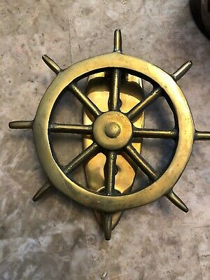 Vintage ~ Brass Nautical Ships Wheel Door Knocker ~ Maritime Front Door Knocker