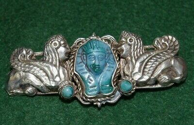 Very Fine Czech Antique Egyptian Revival Silver Brooch Faience  - Neiger Bros