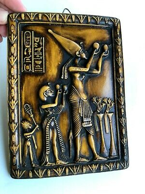 Pharaoh Akhenaten Offering To Aten The Sun Wall Decor Nice Hand Carved Ancient