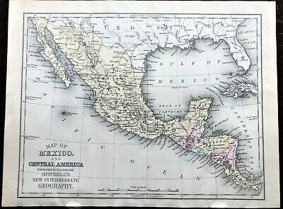 1895 Antique Color MITCHELL Map of MEXICO & CENTRAL AMERICA ~ Large Original Map
