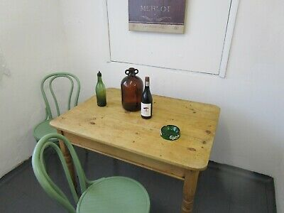 Victorian Pine Kitchen Table with One Drawer