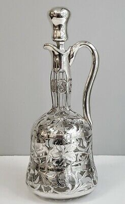 Exceptional Art Nouveau Sterling Silver Overlay Decanter By Black Starr & Frost