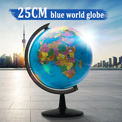 Geography Rotating Earth Globe +Swivel Stand World Map Education Room Decor Gift