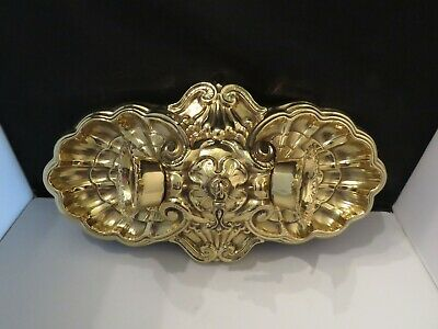 Art Deco Polished Brass Flush Mount Antique Ceiling Fixture 2 Lights Shell