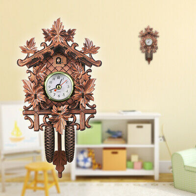 Cuckoo Wall Clock Bird Wood Hanging Decorations for Home Cafe Restaurant W2V7