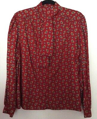 vintage 70s 80s Marks & Spencer red paisley tie neck balloon sleeve blouse 16