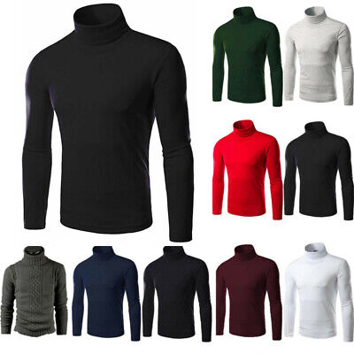 Mens Turtle High Roll Neck Knitted Jumper Sweater Warm Pullover Golf Winter Tops