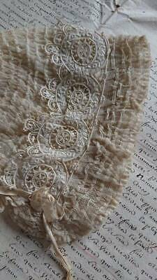 ADORABLE ANTIQUE FRENCH RUCHED TULLE & LACE BONNET 19th century