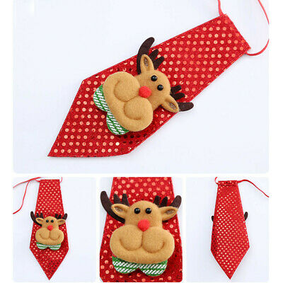 Cute Children Kid Christmas Party Sequin Adjustable Grooming Bow Tie Necktie Red