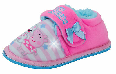 Peppa Pig Girls Light Up Flashing Slippers Kids Fleece Fur Lined House Booties