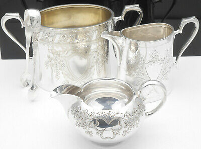 Antique Ornate Milk Cream Jugs & Sugar Bowl With Tongs - Silver Plated