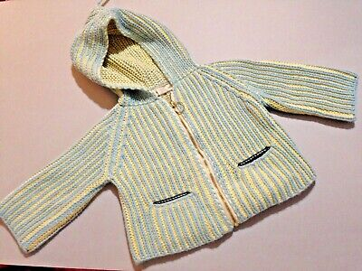Misha & Puff Pale Blue/Yellow Bulky Knit Hooded L/S Cardigan/Zip Front S 0-6Ms