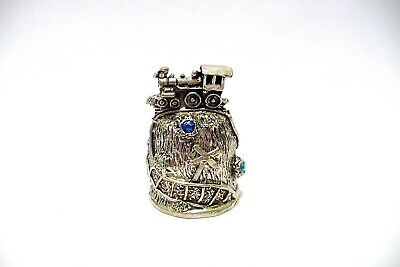 Thimble Pewter Comstock Topper Of A Locomotive W/Blue Crystals